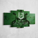 Tom Clancy's 57 Rainbow  Six Siege Operation Skull Rain Logo 5 Piece Canvas Wall Art Gaming Canvas