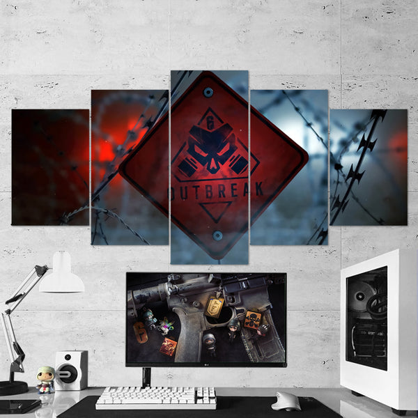 Tom Clancy's 58 Rainbow  Six Siege Outbreak Logo 5 Piece Canvas Wall Art Gaming Canvas