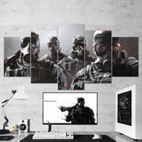 Tom Clancy's 60 Rainbow  Six Siege Smoke Sledge Mute Thatcher 5 Piece Canvas Wall Art Gaming Canvas