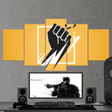 Tom Clancy's 63 Six Siege Minimalist Logo 5 Piece Canvas Wall Art Gaming Room Canvas