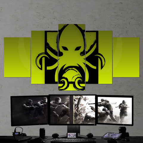 Tom Clancy's 64 Six Siege Minimalist Logo 5 Piece Canvas Wall Art Gaming Room Canvas