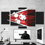 Tom Clancy's 65 Rainbow Six Siege Minimalist  Fuze Logo 5 Piece Canvas Wall Art Gaming Room Canvas