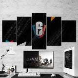 Tom Clancy's 70 Rainbow Six Siege Minimalist Logo 5 Piece Canvas Wall Art Gaming Room Canvas