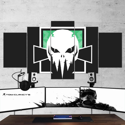 Tom Clancy's 71 Rainbow Six Siege  Minimalist Skull Logo 5 Piece Canvas Wall Art Gaming Room Canvas