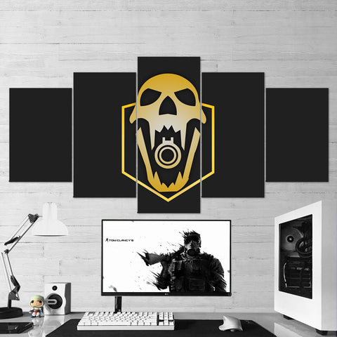 Tom Clancy's 72 Rainbow Six Siege Minimalist Skull Logo 5 Piece Canvas Wall Art Gaming Room Canvas