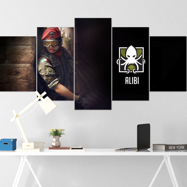 Tom Clancy's Canvas Wall Art 080 - Alibi Poster Art - The Division 5 Piece Canvas Wall Art - Ghost Recon Canvas