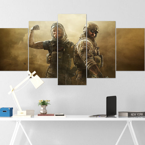 Tom Clancy's Canvas Wall Art 101 - Valkyrie & Blackbeard 5 Piece Canvas Wall Art - The Division Canvas - Ghost Recon Canvas - Rainbow Six Siege Canvas
