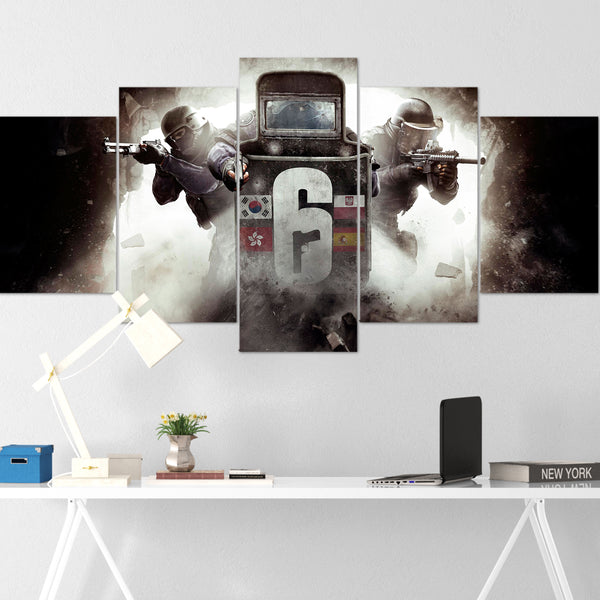 Tom Clancy's Canvas Wall Art 103 - Shooter 5 Piece Canvas Wall Art - The Division Canvas - Ghost Recon Canvas - Rainbow Six Siege Canvas