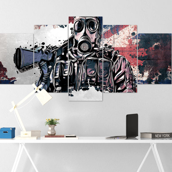Tom Clancy's Canvas Wall Art 105 - Smoke 5 Piece Canvas Wall Art - The Division Canvas - Ghost Recon Canvas - Rainbow Six Siege Canvas