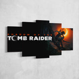 Tomb Raider 01 Shadow of the Tomb Raider Logo Lara Croft 5 Piece Canvas Wall Art Gaming Canvas