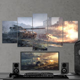 World of Tanks 01 British Tank Destroyers  - 5 Piece Canvas Wall Art Gaming Canvas