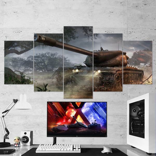 World of Tanks 02 Heavy Tank - 5 Piece Canvas Wall Art Gaming Canvas