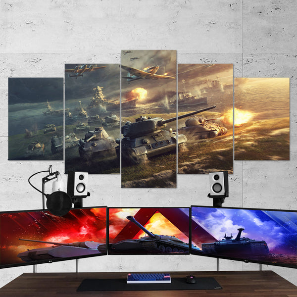 World of Tanks 03 - 5 Piece Canvas Wall Art Gaming Canvas