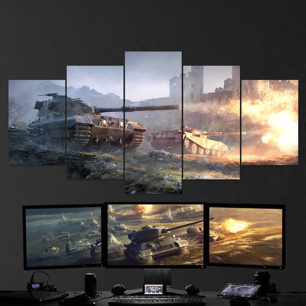 World of Tanks 05 - 5 Piece Canvas Wall Art Gaming Canvas