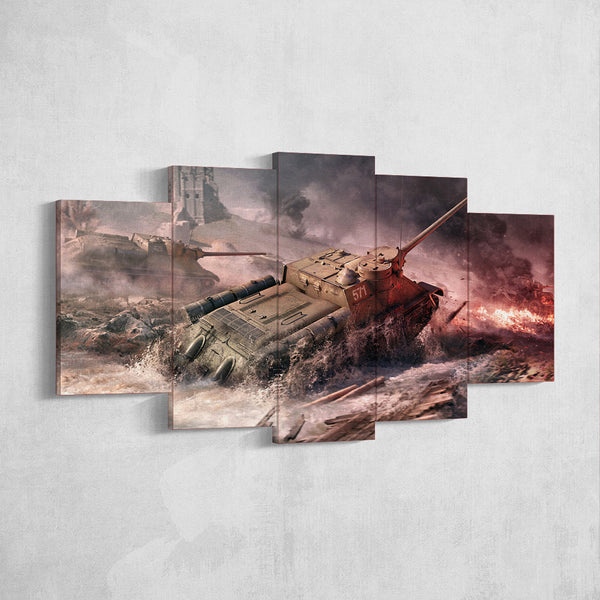 World of Tanks 08 Su-100 5 Piece Canvas Wall Art Gaming Canvas