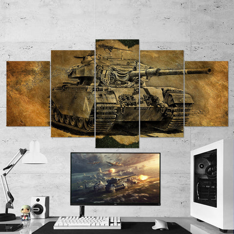 World of Tanks 10 Centurion 5 Piece Canvas Wall Art Gaming Canvas