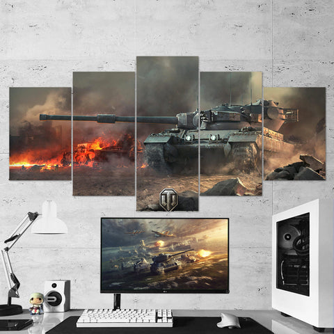 World of Tanks 12 Conquerer 5 Piece Canvas Wall Art Gaming Canvas