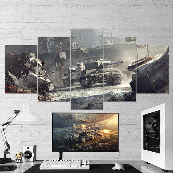 World of Tanks 15 - 5 Piece Canvas Wall Art Gaming Canvas