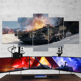 World of Tanks 16 - 5 Piece Canvas Wall Art Gaming Canvas