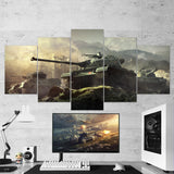 World of Tanks 17 - 5 Piece Canvas Wall Art Gaming Canvas
