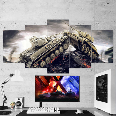 World of Tanks 18 - 5 Piece Canvas Wall Art Gaming Canvas