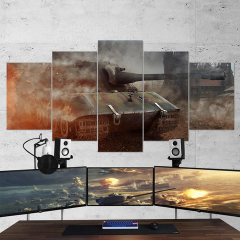 World of Tanks 24 - 5 Piece Canvas Wall Art Gaming Canvas