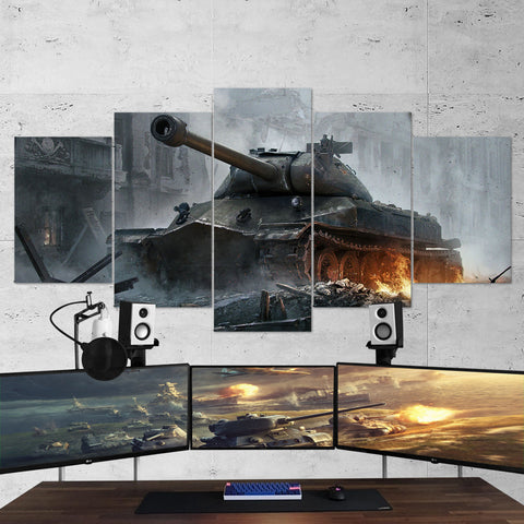 World of Tanks 27 - 5 Piece Canvas Wall Art Gaming Canvas