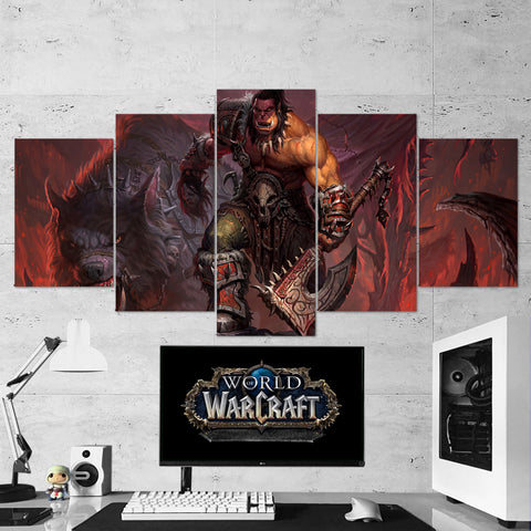 WOW - World of Warcraft 03 Grommash Hellscream 5 Piece Canvas Wall Art Gaming Canvas