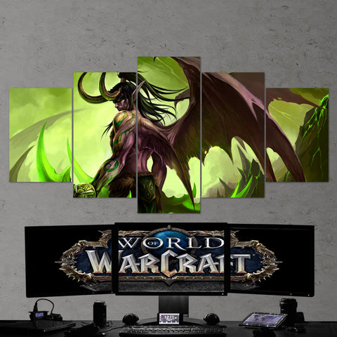 WOW - World of Warcraft 09 Illidan Stormrage 5 Piece Canvas Wall Art Gaming Canvas