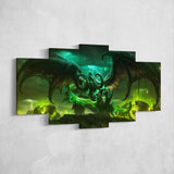 WOW - World of Warcraft 10 Illidan Stormrage 5 Piece Canvas Wall Art Gaming Canvas