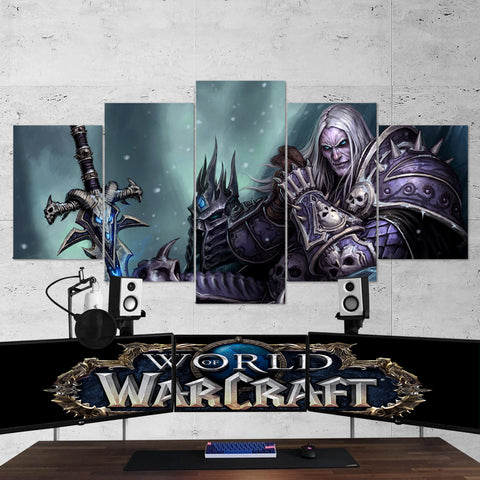 WOW - World of Warcraft 14  Lich King 5 Piece Canvas Wall Art Gaming Canvas