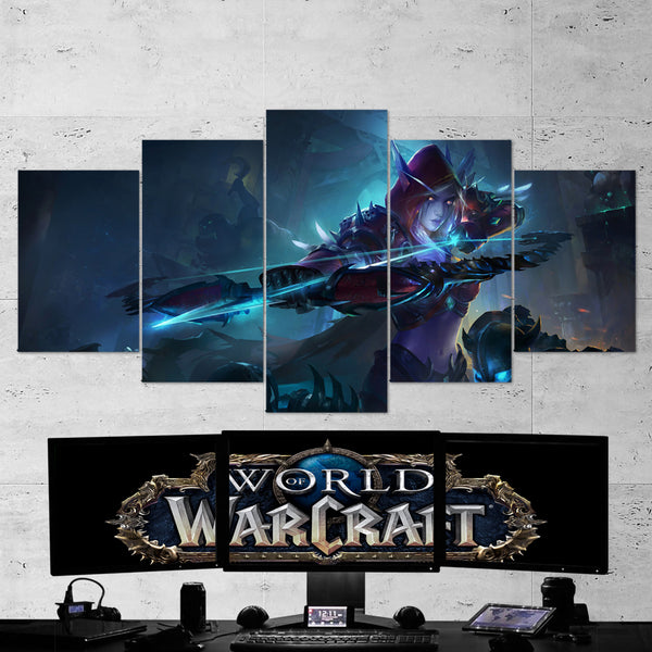 WOW - World of Warcraft 15 Sylvanas Windrunner 5 Piece Canvas Wall Art Gaming Canvas