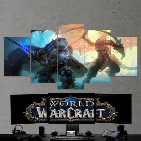 WOW - World of Warcraft 18 The Lich King - Illidan Stormrage 5 Piece Canvas Wall Art Gaming Canvas