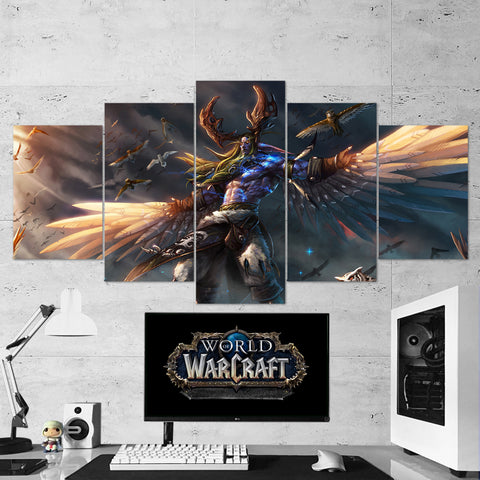 WOW - World of Warcraft 22 Malfurion Stormrage 5 Piece Canvas Wall Art Gaming Canvas