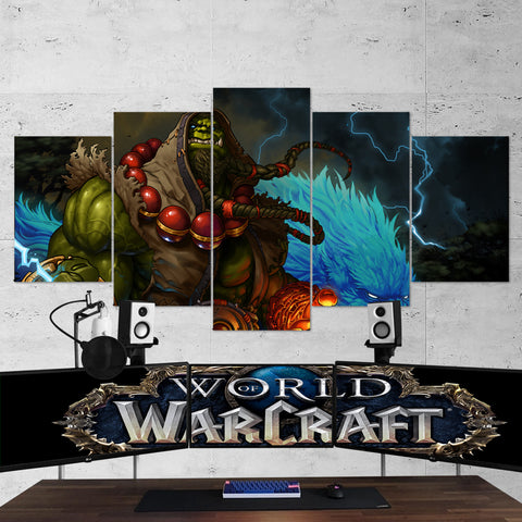 WOW - World of Warcraft 24 Shaman Thrall 5 Piece Canvas Wall Art Gaming Canvas