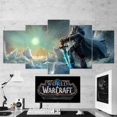 WOW - World of Warcraft 25 Lich King Artwork 5 Piece Canvas Wall Art Gaming Canvas