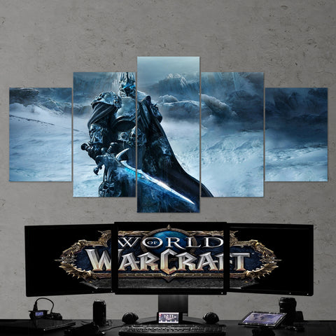 WOW - World of Warcraft 28  Lich King 5 Piece Canvas Wall Art Gaming Canvas
