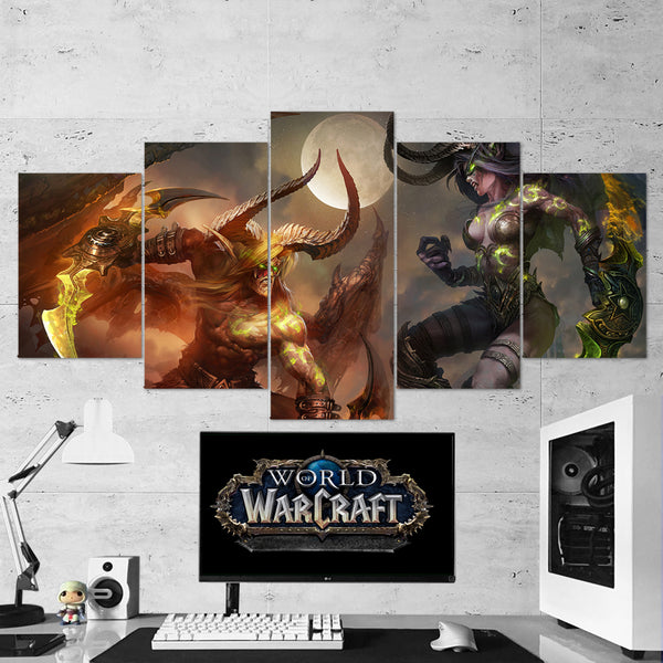 WOW - World of Warcraft 29 Demon Hunter 5 Piece Canvas Wall Art Gaming Canvas