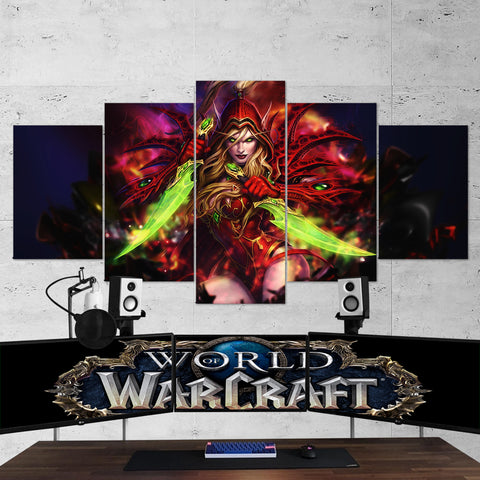 WOW - World of Warcraft 30 Valeera Sanguinar 5 Piece Canvas Wall Art Gaming Canvas