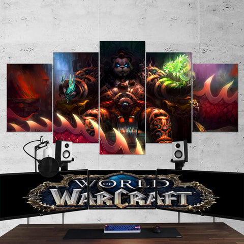 WOW - World of Warcraft 37 Pandaren 5 Piece Canvas Wall Art Gaming Canvas