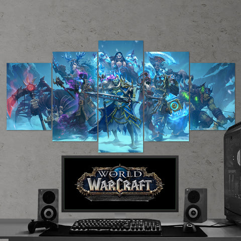 WOW - World of Warcraft 38 Knights of The Frozen Throne 5 Piece Canvas Wall Art Gaming Canvas