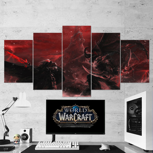 WOW - World of Warcraft 40 The Lich King - Illidan Stormrage 5 Piece Canvas Wall Art Gaming Canvas