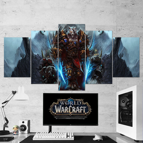 WOW - World of Warcraft 41 Genn Greymane 5 Piece Canvas Wall Art Gaming Canvas