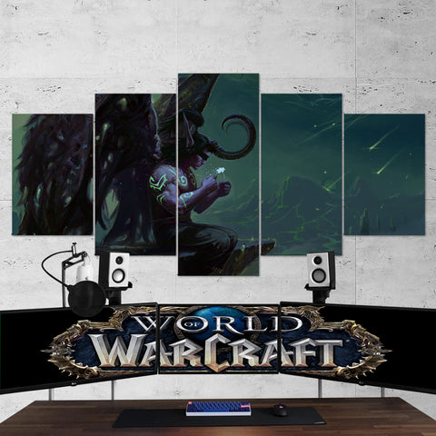 WOW - World of Warcraft 44  Illidan Stormrage 5 Piece Canvas Wall Art Gaming Canvas