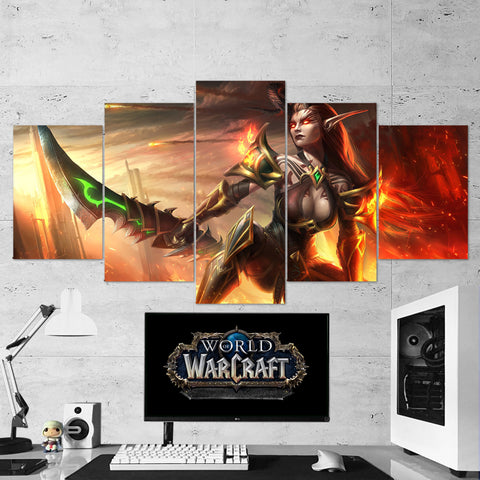 WOW - World of Warcraft 45 Demon Hunter 5 Piece Canvas Wall Art Gaming Canvas