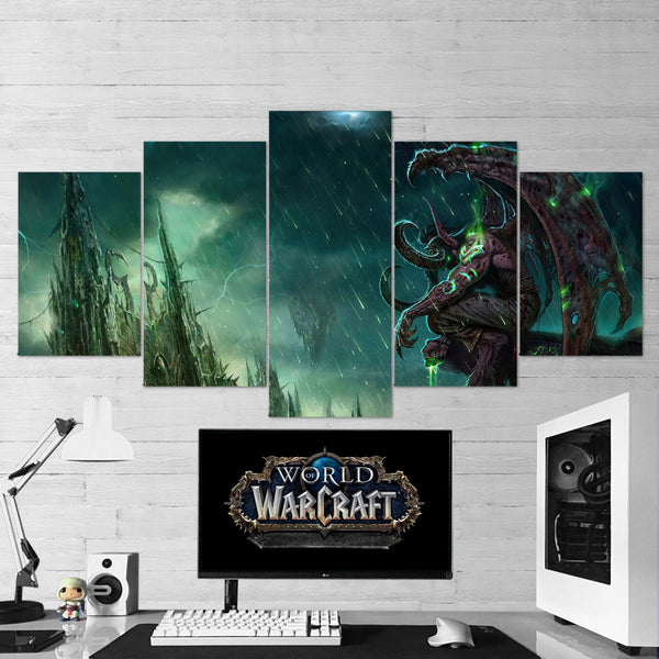 WOW - World of Warcraft 46 Illidan Stormrage 5 Piece Canvas Wall Art Gaming Canvas