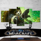 WOW - World of Warcraft 47 Panderan 5 Piece Canvas Wall Art Gaming Canvas