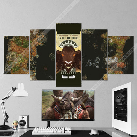 WOW - World of Warcraft 52 For The Earth Mother - Tauren 5 Piece Canvas Wall Art Gaming Canvas