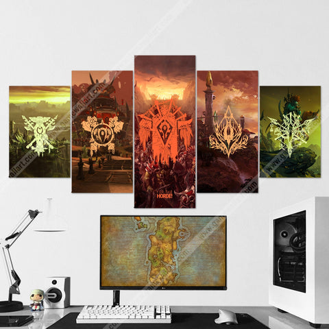 WOW - World of Warcraft 63 Horde Side - For The Horde 5 Piece Canvas Wall Art Gaming Canvas
