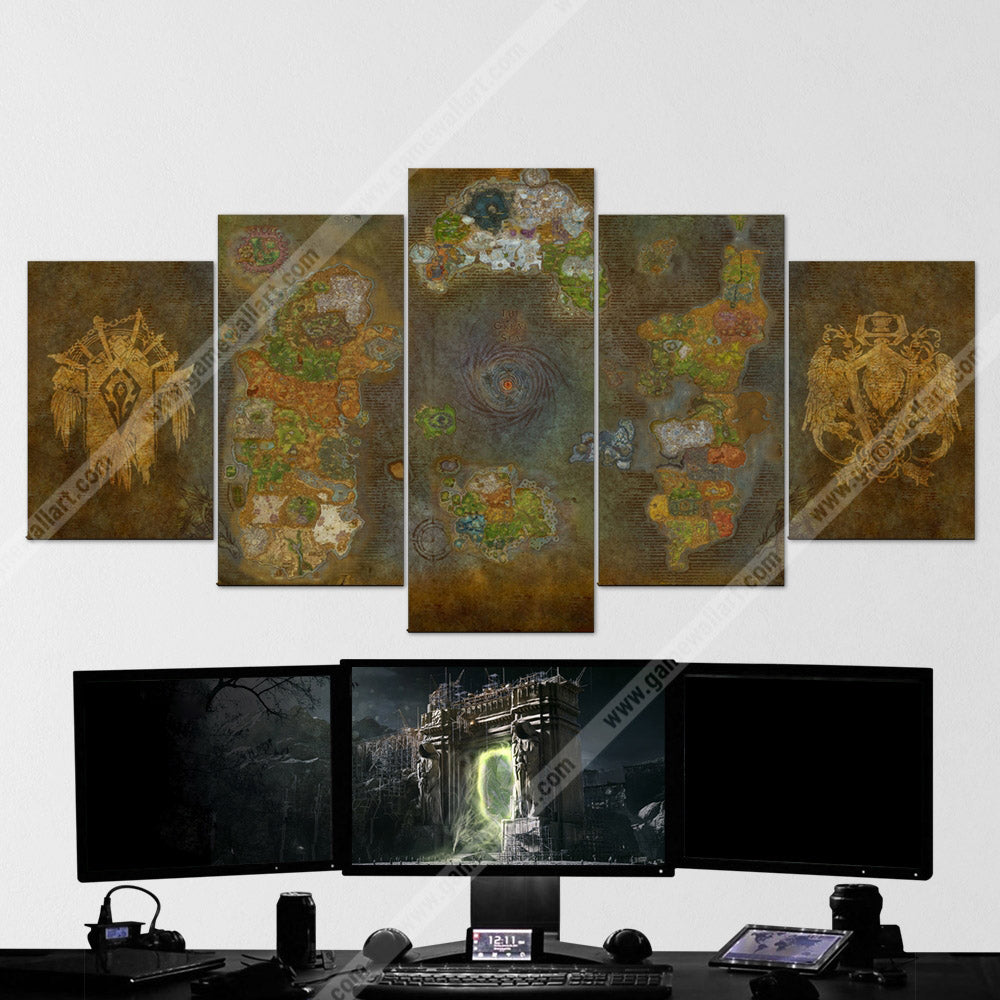 WOW - World of Warcraft 64 Azeroth Map 5 Piece Canvas Wall Art Gaming
